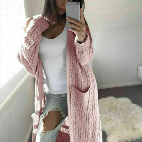 cable knit long cardigan pink