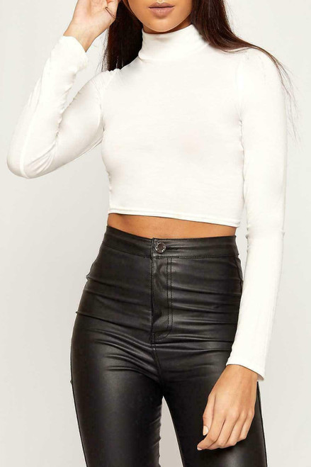 CROPPED TURTLE NECK TOP WHITE
