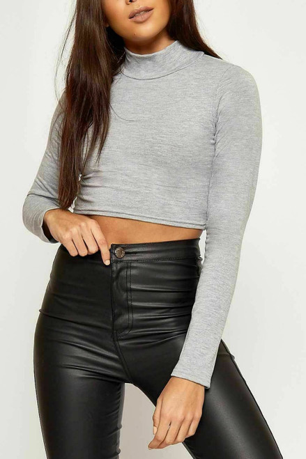 CROPPED TURTLE NECK TOP GREY