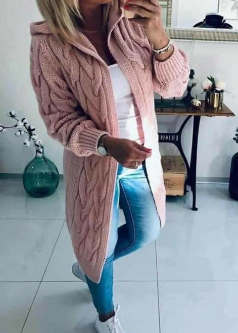 HOODED CABLE KNIT CARDIGAN PINK