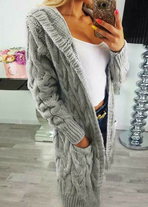 HOODED CABLE KNIT CARDIGAN GREY
