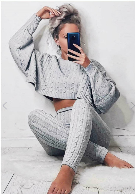 cable knit loungewear grey