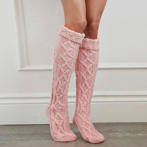 cable knit thigh socks pink