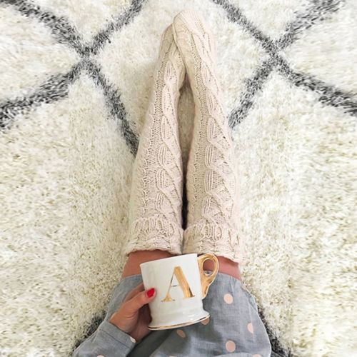 CABLE KNIT THIGH SOCKS STONE