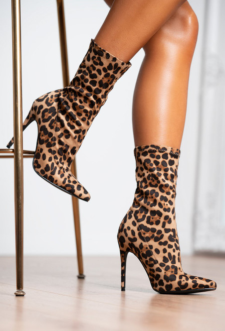 LEOPARD STILETTO SOCK ANKLE BOOTS