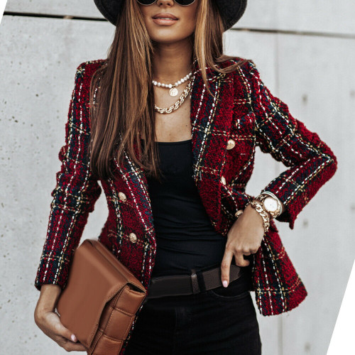 DOUBLE BREASTED TWEED BLAZER RED