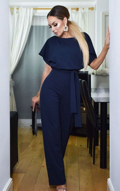 BATWING BELTED JUMPSUIT NAVY