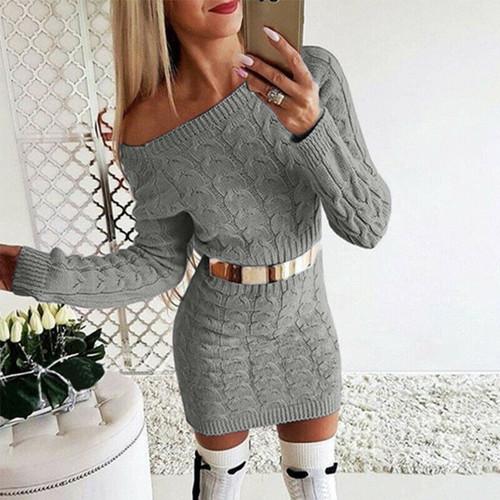 cable knit mini dress grey