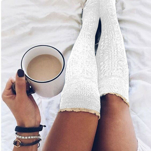 lace top thigh socks white