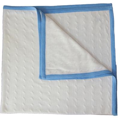 Simba Cashmere Cream / Blue Baby Blanket