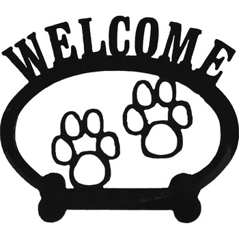 Sweeney Ridge Paw Print Oval Metal Welcome Sign
