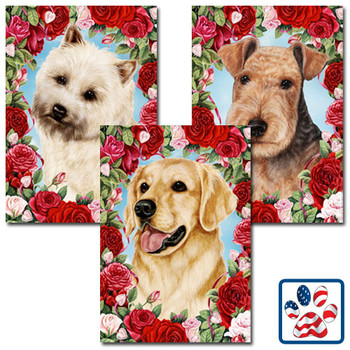 Hearts and Roses Dog Breed Flags