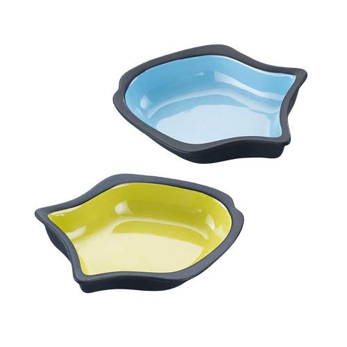SPOT Vienna Fish Cat Bowl Green or Blue