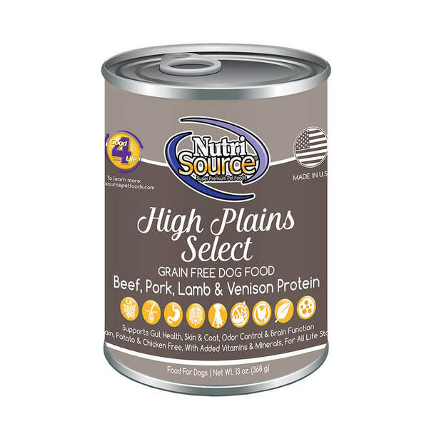 Nutrisource Grain Free High Plains Selects Canned Recipe for Dogs