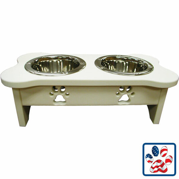 IndiPets White Elevated Feeder with Paw Prints
