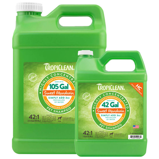 TropiClean Sweet Mandarin High Concentrate Shampoo for Pets
