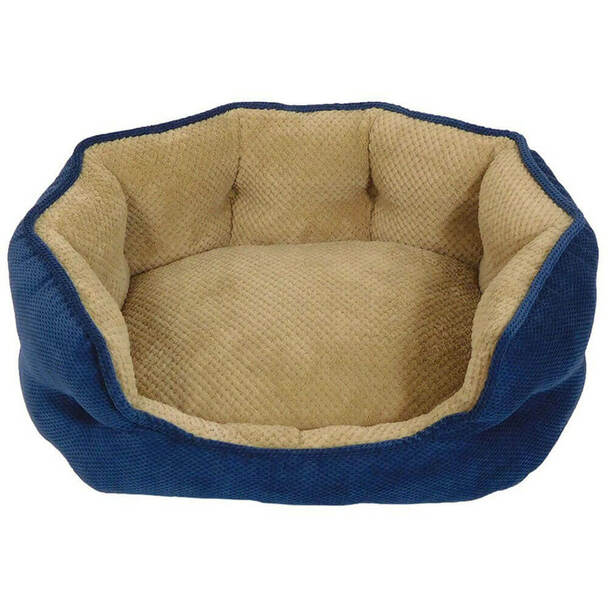 Arlee Hudson Orthopedic Cozy Bed in Navy and Tan