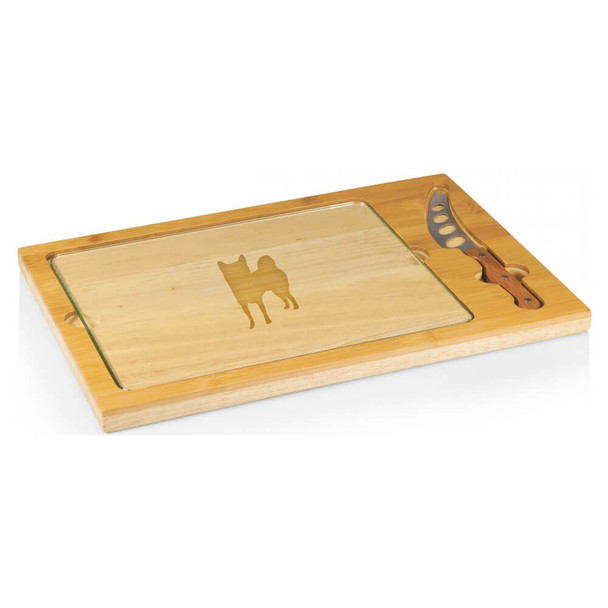 Cherrybrook Laser-Engraved Icon Glass-Top Cutting Board With Knife