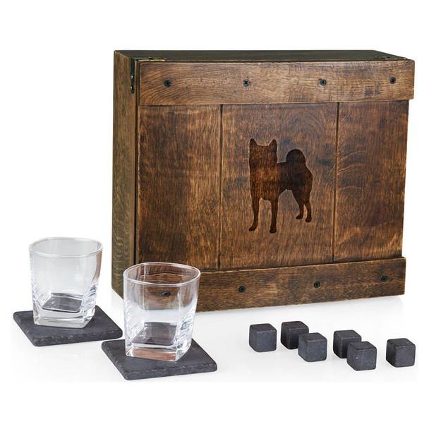 Cherrybrook Laser-Engraved Whiskey Oak Box Set