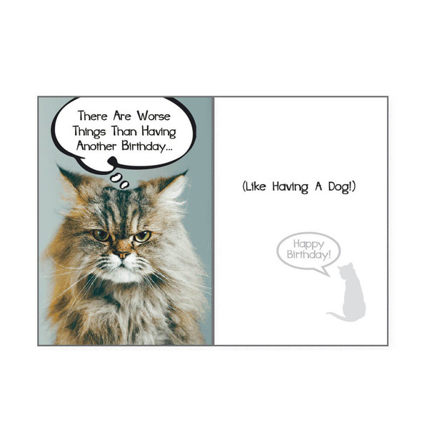Dog Speak Birthday Card - Cat There Are Worse Things