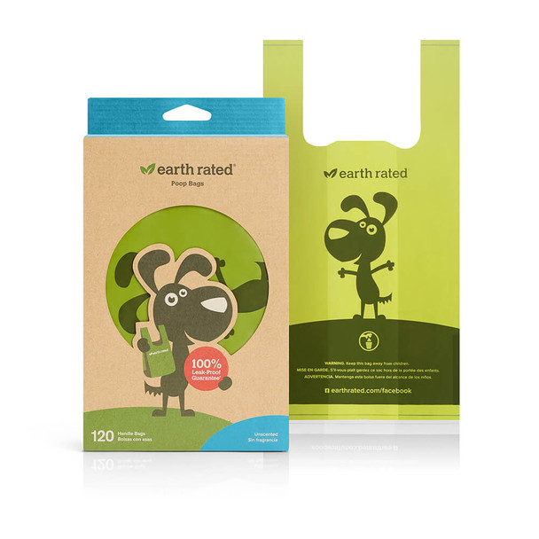 Earth Rated Poop Bags with Handle 120ct Unscented