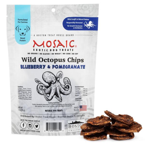 Mosaic Wild-Caught Octopus Jerky Chips Blueberry & Pomegranate Dog Treats – 3oz