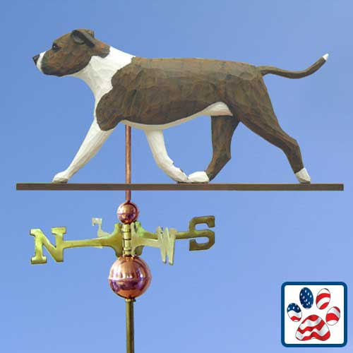 BRINDLE AND WHITE American Staffordshire Terrier Weathervane by Michael Park