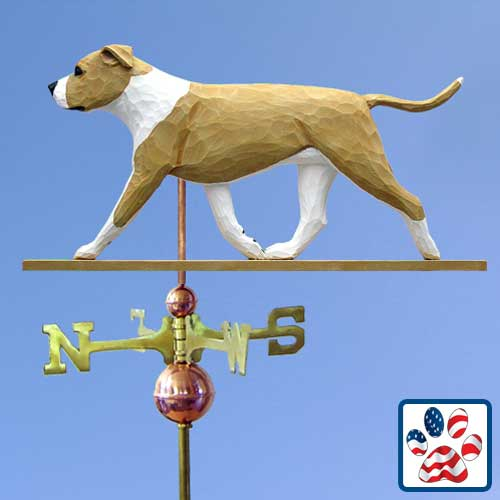 FAWN AND WHITE American Staffordshire Terrier Weathervane by Michael Park