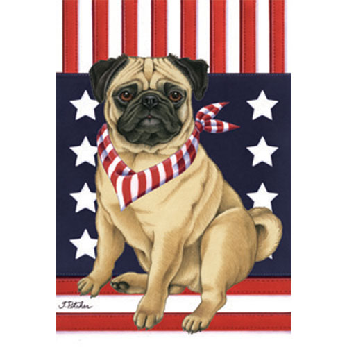 Pug Patriotic Breed Flag