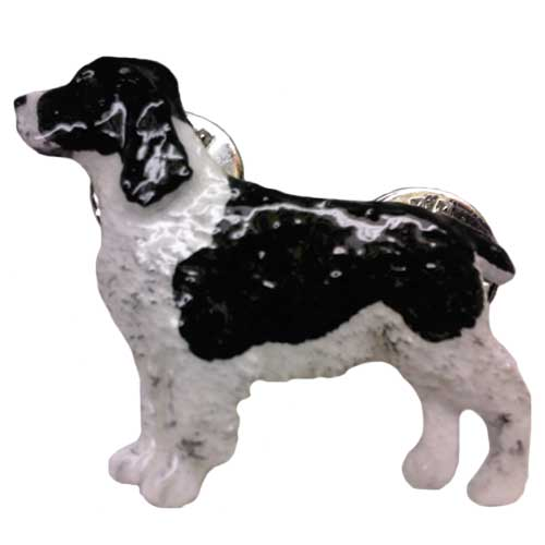 SDISC George Harris Handpainted Pin - English Springer Spaniel BLACK and WHITE