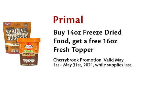 Free Primal Topper With 14oz Purchase