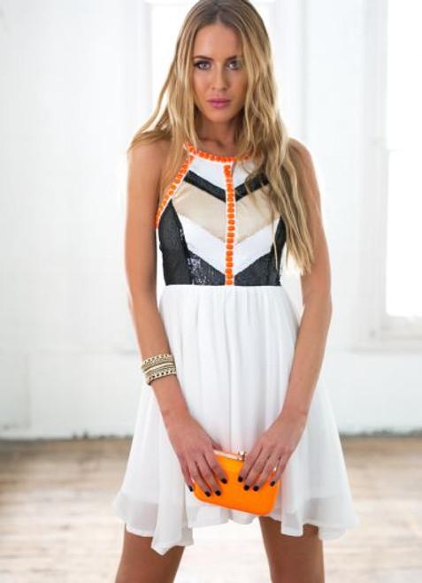 Cage back black and white sequin orange beaded dress