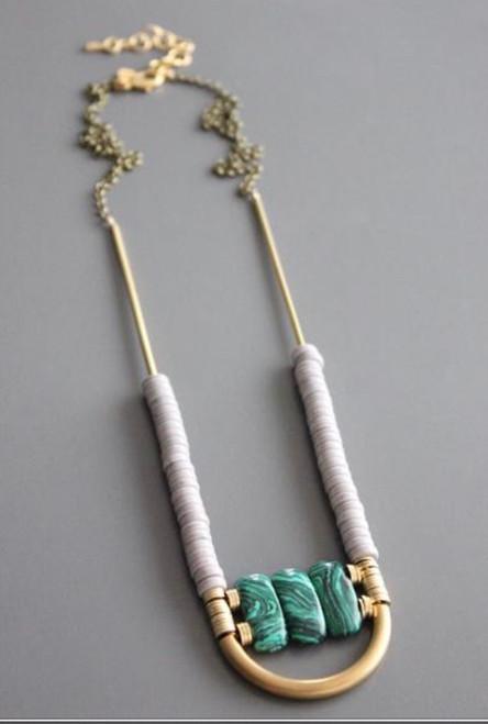 David Aubrey Necklace Magnesite, malachite, and brass