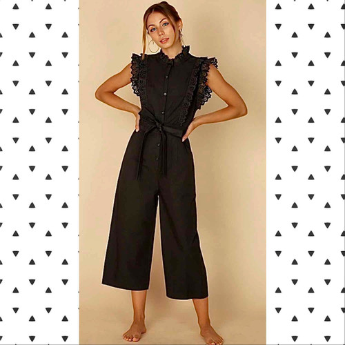 Audrina Jumpsuit With lace trim and Tie belt Waist