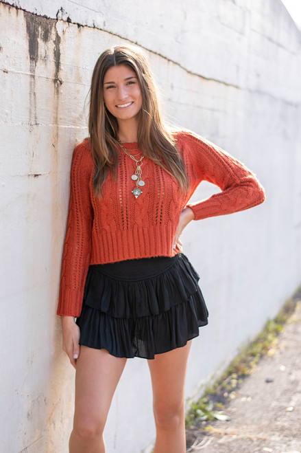 Black Cascade Skirt