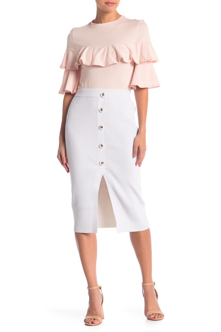 Off White Button Front Slit Knit Skirt