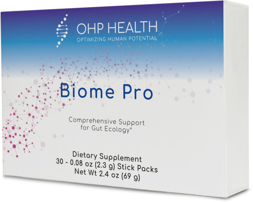 Biome Pro is an ideal combination of ingredients for individuals seeking a well-rounded supplement to address intestinal  ecology, cellular health, and immunity. It features well-researched probiotic strains; Saccharomyces boulardii, a non pathogenic yeast; and arabinogalactan, a prebiotic. By combining these ingredients, the individual benefits of each  component can be complemented by the mechanisms of the others.* The active bacteria specifically formulated in Biome-pro are associated with changes in the activity of hundreds of genes, including SIRT1 gene expression, with the changes resembling the effects of certain medicines in the human body, including medicines that positively influence the immune system, weight and blood pressure.