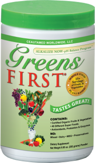 Greens First is the delicious, fast and easy way for the entire family to enjoy the phytonutrient and antioxidant benefits of a diet rich in dark greens and brightly colored fruits and vegetables in one, easy-to-use product. Join the Greens First Revolution to maximize your health and overall well-being. Greens First contains Certified Organic fruits, vegetables and barley grass which are first juiced, then spray dried at low temperatures, leaving all the important nutrients and live enzymes intact.