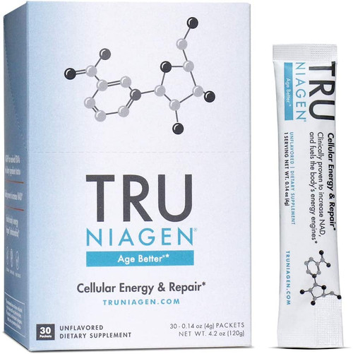 HELP DEFEND YOUR CELLS' HEALTH & BOOST NAD+:  NAD+ is vital to cells' normal function and resilience. Aging, lack of exercise, lack of sleep, and other stressors deplete NAD+ levels. Immune stress, such as a viral infection, may reduce a healthy cell's NAD+ levels by 80%. Support your cellular health with NIAGEN®, the most efficient and safest way to elevate your NAD+.   Tru Niagen® is clinically proven to elevate NAD+ levels by approximately 40-50% after 8 weeks.‡ Our customers report everything from sustained energy throughout the day to overall feelings of general well-being. Each experience is different because each person is different. Ultimately, your experiences will be based on your individual needs and lifestyle. You may not feel immediate benefits, but rest assured, Tru Niagen® is working to help keep your cells resilient in the face of everyday stressors.   AN EASY DAILY ROUTINE:  Our lightweight capsules are a simple addition to your health routine. Take 1 capsule, every day at the same time with a glass of water.   SCIENTIFICALLY PROVEN:  Tru Niagen® increases your NAD+ levels and is backed by multiple published clinical trials, with more than thirty registered human studies ongoing.   SAFE TO USE:  Based on clinical studies, Tru Niagen® has no known negative side effects. Unlike NMN, our key ingredient Niagen® was successfully notified two times as an NDI (New Dietary Ingredient) and reviewed as GRAS (Generally Recognized As Safe).