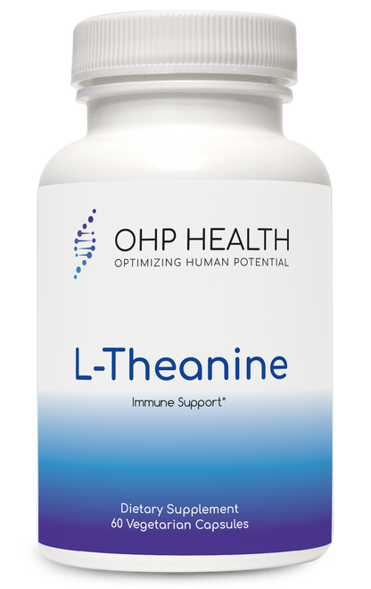 L-Theanine is a naturally occurring, unique amino acid found in green tea leaves. L-theanine has been found to reduce stress by promoting relaxation without drowsiness, easing nervousness due to overwork and fatigue, and reducing nervous irritability. Human studies suggest that it may also be useful in supporting concentration and in reducing negative side effects from caffeine. OHP Health's L-Theanine (as Suntheanine®) is protected by several patents based on its positive effects.*