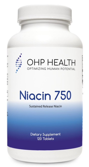 Niacin is one of the most studied and documented nutrients for support of lipid levels already within the normal range, especially high-density lipoprotein cholesterol (HDL-C) levels. Sustained-release niacin, as found in Niacin 750, has a lesser flushing effect compared with instant-release niacin. Use of a proprietary, wax-coated technology permits release that is complete in seven to eight hours, the time that is considered ideal for a time-release form of niacin.*