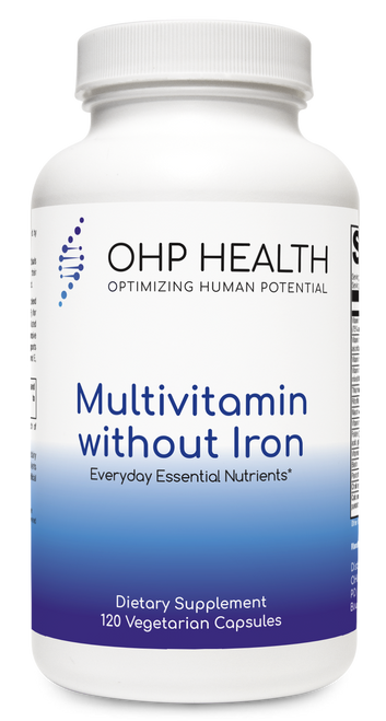 This high-quality, hypoallergenic, multivitamin/mineral blend includes activated vitamins; folate as Quatrefolic® (5-MTHF) for optimal utilization; and patented Albion TRAACS® chelated mineral complexes in vegetariancapsules. The comprehensive nutrient profile in Multivitamin without Iron supports foundational wellness;antioxidant activity with vitamins C and E, selenium, and beta-carotene; and phase I detoxification.*