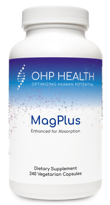 Magnesium, the fourth most abundant mineral in the human body, plays a role in over 300 metabolic processes. It  participates in the development and maintenance of bones and teeth; the metabolism of carbohydrates, blood glucose,  fats, and proteins; the formation of cells and tissues; and the maintenance of muscle function, including cardiac muscle.  MagPlus contains Albion®'s TRAACS® magnesium lysinate glycinate (mineral amino acid chelate) and Albion's chelated  dimagnesium malate—both formulated for enhanced absorption. Malic acid (from di-magnesium malate) supports  energy production and lactic acid clearance via the Krebs cycle. Malic acid may also support antioxidant systems by  enhancing glutathione and antioxidant enzymes.*