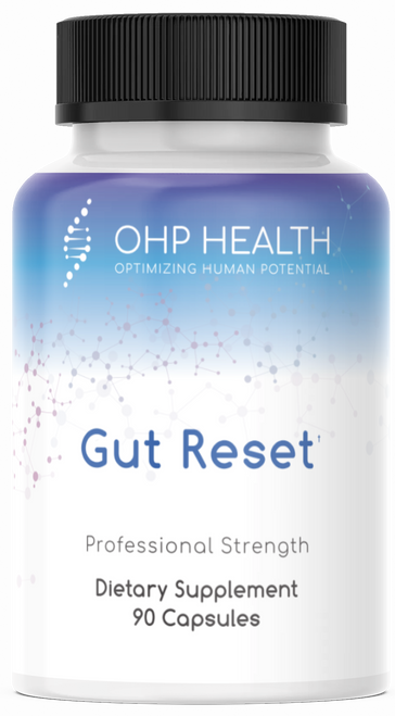 OHP Gut Reset is a spore-based, broad-spectrum probiotic formula designed to promote a healthy gut microflora, protect mucosal integrity, and relieve small intestinal bacterial overgrowth (SIBO). Uniquely included in this formula are serum-derived bovine immunoglobulins that bind to and eliminate microbes and toxins that are common in SIBO.