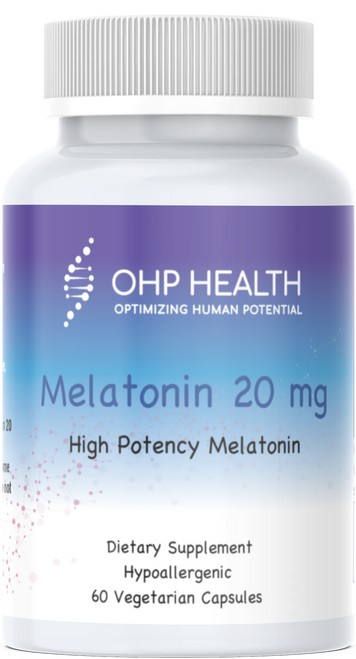 Melatonin, in capsule form and having a 20 mg per capsule strength. Melatonin's main function in the body is to support sleep.* It also has antioxidant properties via hydroxy radical scavenging.*  The use of high purity melatonin is very important to insure safety.