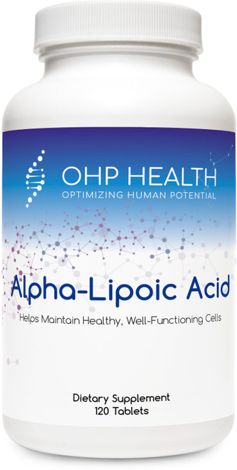 OHP Alpha-Lipoic Acid provides whole-body, multifunctional antioxidant activity that helps to maintain healthy, well-functioning cells. OHP Alpha-Lipoic Acid is designed to neutralize free radicals in both the water-based and lipid-based portion of cells, help the body synthesize glutathione, and recharge important antioxidants.  Unlike regular alpha-lipoic acid, Alpha-Lipoic Acid's patented, controlled-release formulation provides extended protection. In addition, biotin supports the function of alpha-lipoic acid in glucose metabolism.
