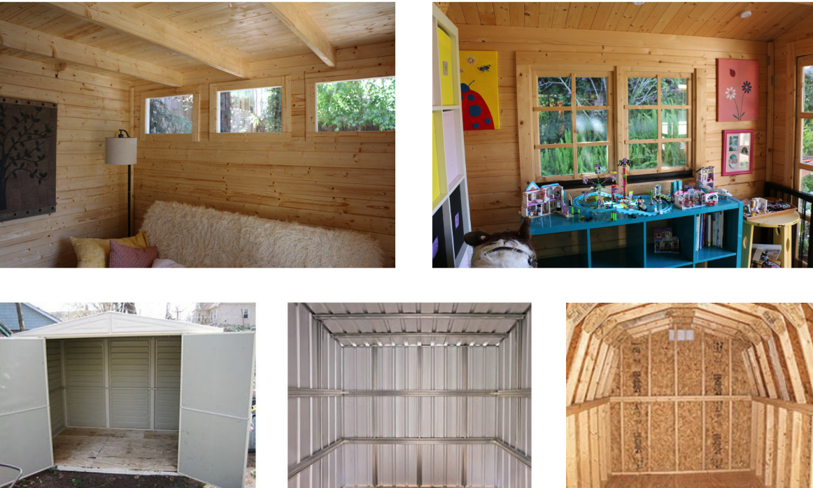 finished interior shed kits compared to metal, plastic or post&beam sheds