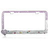 Hearts License Plate Frame with Purple Crystal Rhinestones