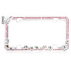 Butterfly and Flowers License Plate Frame with Pink Crystal Rhinestones