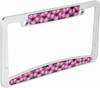 Pink Hibiscus Chrome Plated License Plate Frame